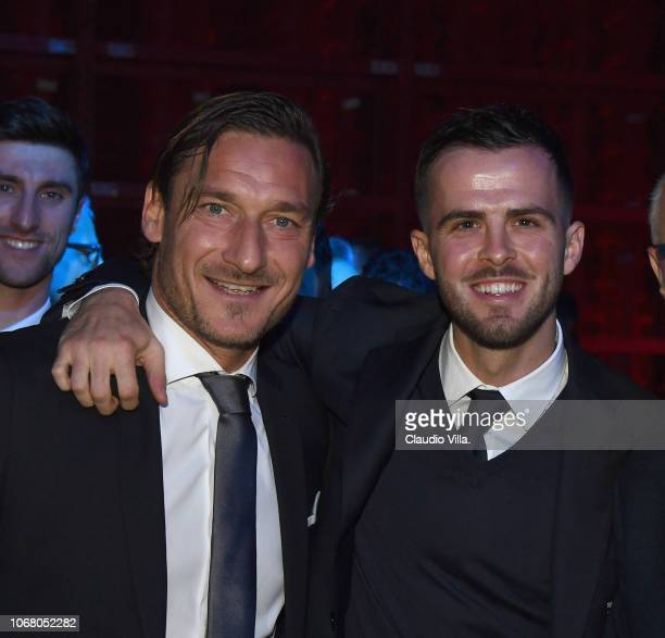 Francesco Totti and Miralem Pjanic attend the Gran Gala Del Calcio 2018 on December 3 2018 in Milan Italy