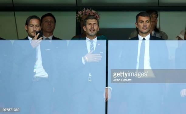 Francesco Totti and Paolo Maldini attend the 2018 FIFA World Cup Russia Semi Final match between England and Croatia at Luzhniki Stadium on July 11...