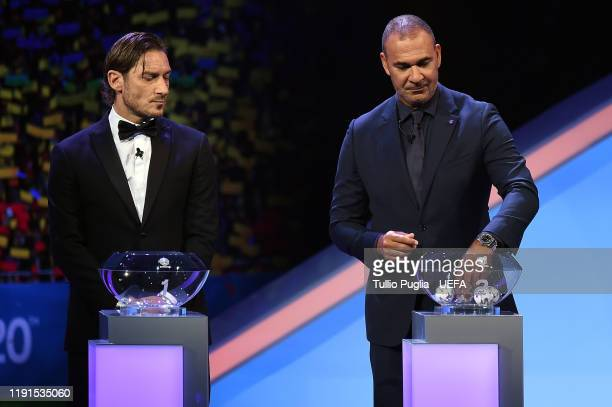 Francesco Totti and Ruud Gullit attend the UEFA Euro 2020 Final Draw Ceremony on November 30, 2019 in Bucharest, Romania.
