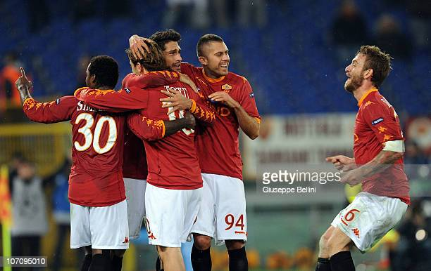 Francesco Totti and the players of Roma celebrate after scoring the goal 32 during the UEFA Champions League Group E match between AS Roma and FC...
