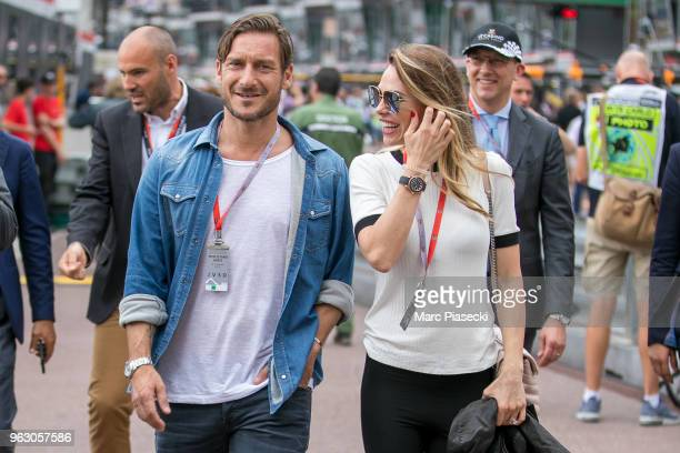 Francesco Totti and wife Ilary Blasi are seen during the Monaco Formula One Grand Prix at Circuit de Monaco on May 27 2018 in MonteCarlo Monaco