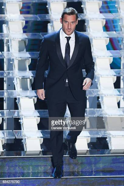 Francesco Totti attends the second night of the 67th Sanremo Festival 2017 at Teatro Ariston on February 8 2017 in Sanremo Italy