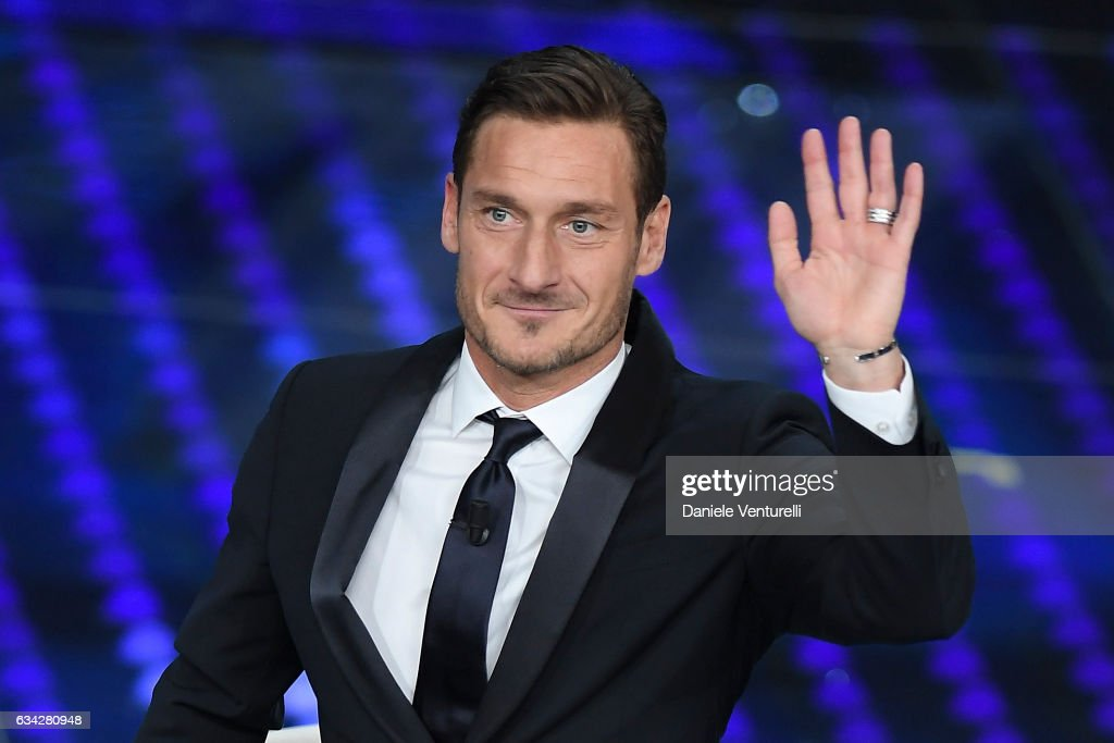 Francesco Totti attends the second night of the 67th Sanremo Festival 2017 at Teatro Ariston on February 8, 2017 in Sanremo, Italy.
