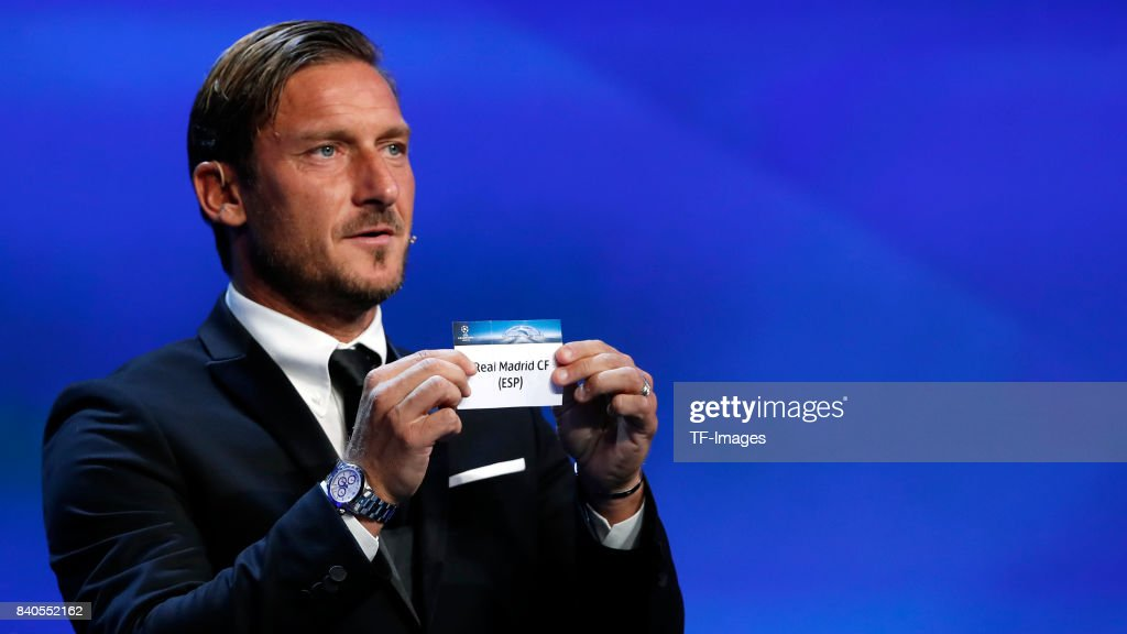Francesco Totti draws Bayern Munich Real Madrid during the UEFA Champions League Group stage draw ceremony, at the Grimaldi Forum, Monte Carlo in Monaco, on August 24, 2017.