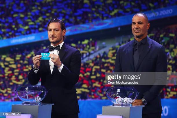 Francesco Totti draws out England during the UEFA Euro 2020 Final Draw Ceremony at the Romexpo on November 30, 2019 in Bucharest, Romania.