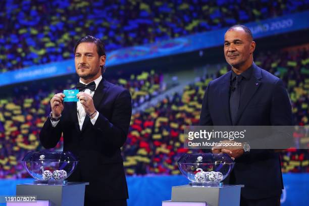 Francesco Totti draws out Germany during the UEFA Euro 2020 Final Draw Ceremony at the Romexpo on November 30, 2019 in Bucharest, Romania.