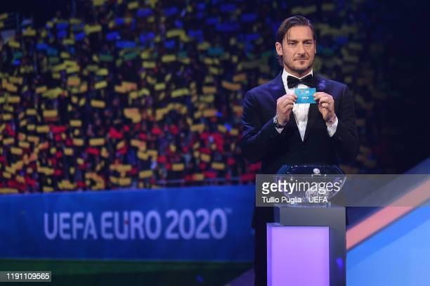Francesco Totti draws Spain during the UEFA Euro 2020 Final Draw Ceremony on November 30, 2019 in Bucharest, Romania.
