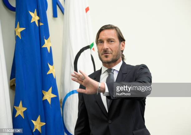 Francesco Totti during a press conference to announce his retirement as manager of the team, CONI Salone d'Onore on June 17, 2019.