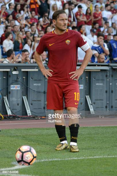 Francesco Totti during the Italian Serie A football match between AS Roma and FC Genoa at the Olympic Stadium in Rome on may 28 2017