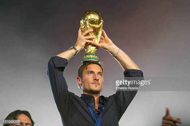 Francesco Totti during World Cup Celebration at Circo Massimo in Rome July 10 2006 at Circo Massimo in Rome Italy