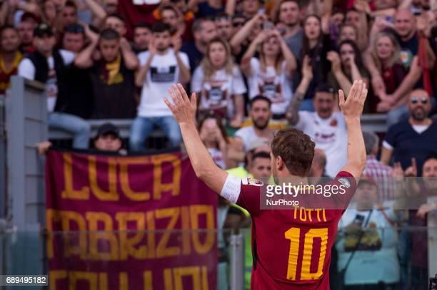 Francesco Totti greets the fans after his last appearance in Rome after more than 20 years during the Serie A match between Roma and Genoa at Stadio...