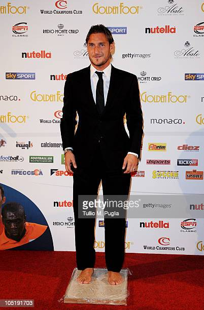 Francesco Totti leaves his footprints during the Golden Foot Awards ceremony at Fairmont Hotel on October 11 2010 in Monaco Monaco