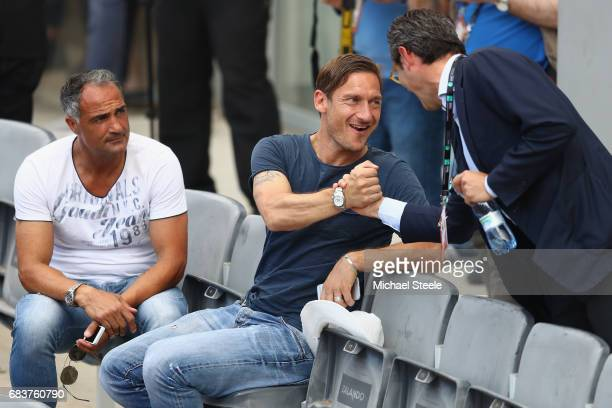Francesco Totti legend of AS Roma attends the men's second round match between Fernando Verdasco of Spain and David Goffin of Belgium on Day Three of...