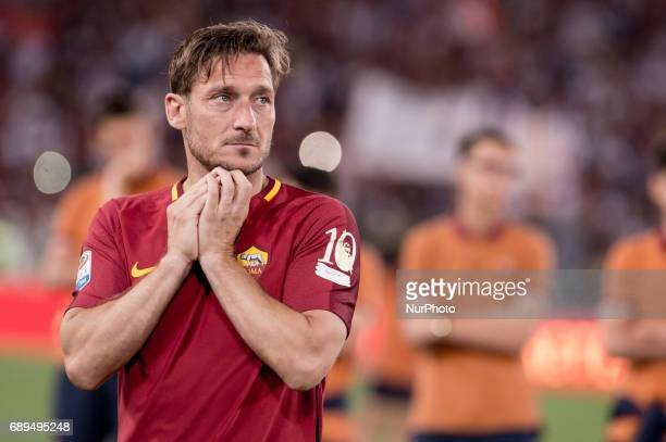 Francesco Totti looks dejected after his last appearance in Rome after more than 20 years during the Serie A match between Roma and Genoa at Stadio...