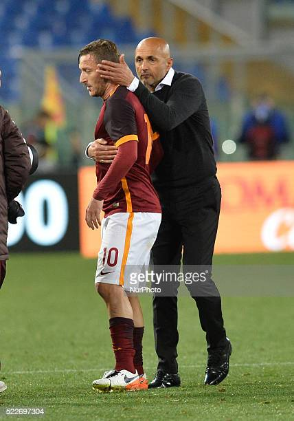Francesco Totti Luciano Spalletti during the Italian Serie A football match AS Roma vs FC Torino at the Olympic Stadium in Rome on april 20 2016