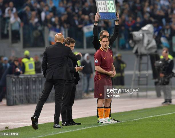 Francesco Totti Luciano Spalletti during the Tim Cup football match AS Roma vs SS Lazio at the Olympic Stadium in Rome on april 04 2017