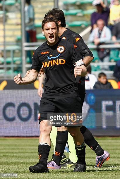 Francesco Totti of AS Roma celebrates during the Serie A match between AS Bari and AS Roma at Stadio San Nicola on April 3, 2010 in Bari, Italy.