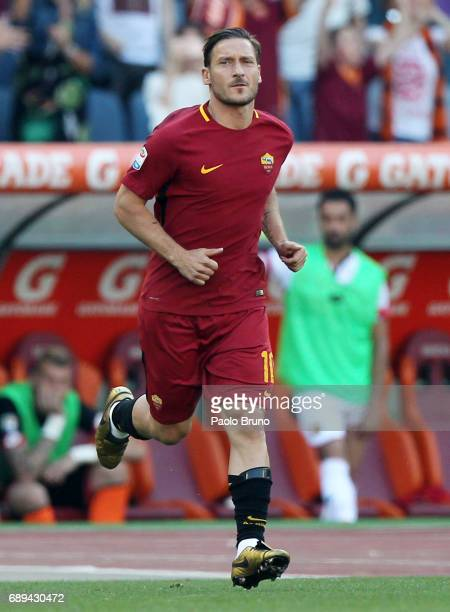 Francesco Totti of AS Roma enters the field for last time during the Serie A match between AS Roma and Genoa CFC at Stadio Olimpico on May 28 2017 in...