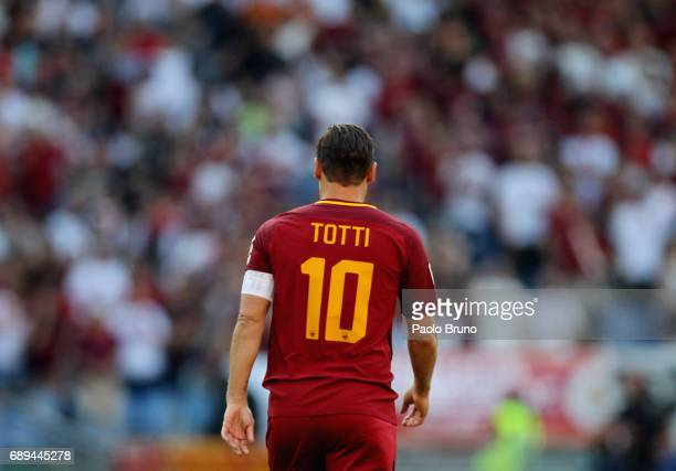 Francesco Totti of AS Roma from shoulders for his last match during the Serie A match between AS Roma and Genoa CFC at Stadio Olimpico on May 28 2017...