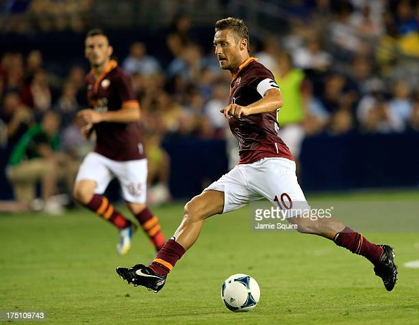 Francesco Totti of AS Roma in action during the 2013 Major League Soccer All Star Game against the MLS AllStars at Sporting Park on July 31 2013 in...