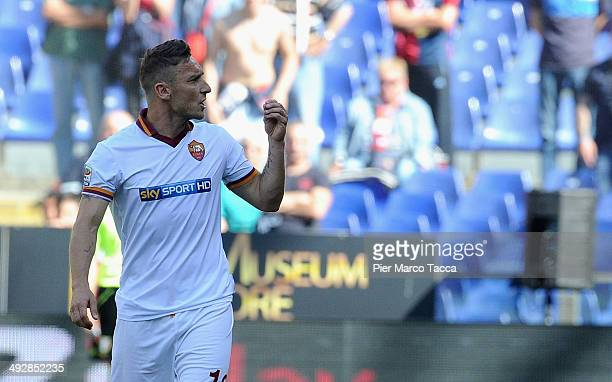 Francesco Totti of AS Roma in action during the Serie A match between Genoa CFC and AS Roma at Stadio Luigi Ferraris on May 18 2014 in Genoa Italy
