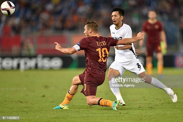 Francesco Totti of AS Roma in action during the UEFA Europa League soccer match between AS Roma and FC Astra Giurgiu at Stadio Olimpico on September...