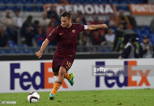 Francesco Totti of AS Roma in action during the UEFA Europa League match between AS Roma and FC Astra Giurgiu at Olimpico Stadium on September 29...