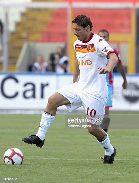 Francesco Totti of AS Roma is shown in action during the Serie A match between Catania Calcio and AS Roma at Stadio Angelo Massimino on September 27...