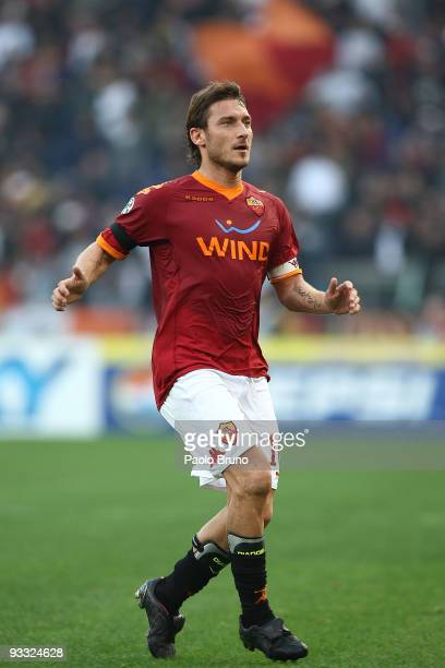 Francesco Totti of AS Roma looks on during the Serie A match between Roma and Bari at Stadio Olimpico on November 22 2009 in Rome Italy
