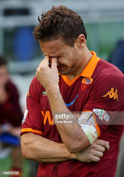 Francesco Totti of AS Roma reacts after losing the Tim cup final against SS Lazio at Stadio Olimpico on May 26, 2013 in Rome, Italy.