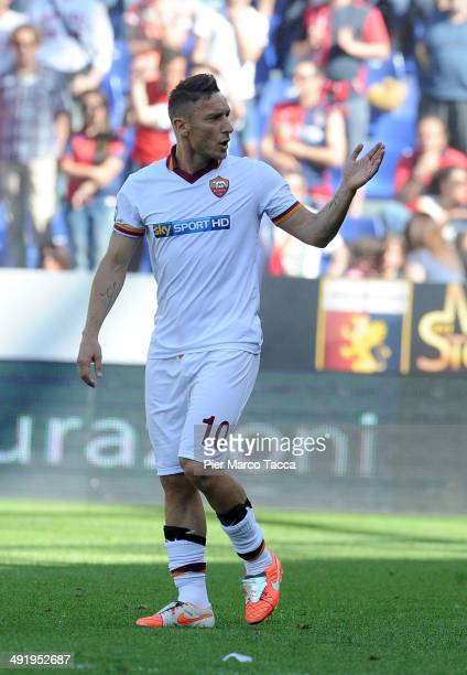 Francesco Totti of AS Roma reacts during the Serie A match between Genoa CFC and AS Roma at Stadio Luigi Ferraris on May 18 2014 in Genoa Italy