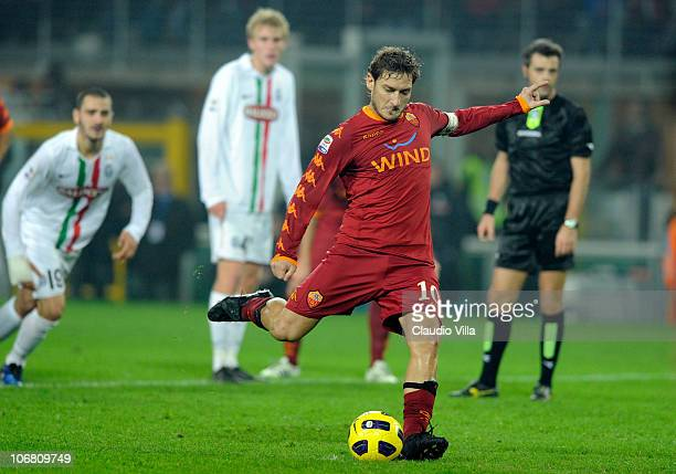 Francesco Totti of AS Roma score the first goal during the Serie A match between Juventus and Roma at Olimpico Stadium on November 13, 2010 in Turin,...