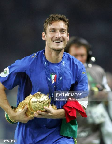 Francesco Totti of Italy celebrates after the World Cup 2006 final football game Italy vs France, 09 July 2006 at Berlin stadium. Italy won the 2006...