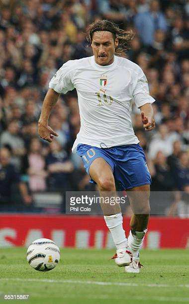 Francesco Totti of Italy in action during the Group Five FIFA World Cup Qualifying match between Scotland and Italy at Hampden Park Stadium on...