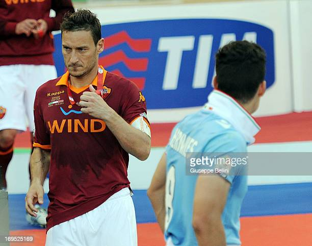 Francesco Totti of Roma after the TIM cup final match between AS Roma v SS Lazio at Stadio Olimpico on May 26, 2013 in Rome, Italy.
