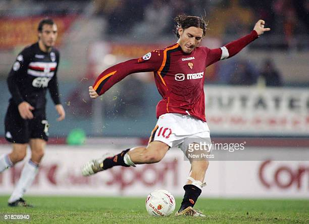 Francesco Totti of Roma attempts a penalty kick during the Serie A Roma v Sampdoria match on December 5 2004 at Lo Stadio Olimpico in Rome Italy