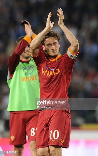 Francesco Totti of Roma celebrates after scoring his second teams goal during the Serie A match between Udinese Calcio and AS Roma at Stadio Friuli...