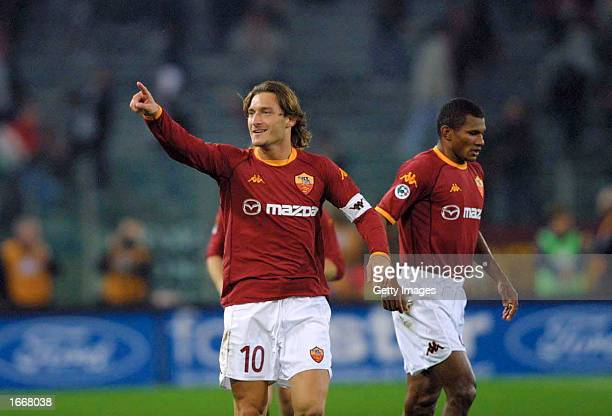 Francesco Totti of Roma celebrates scoring during the Serie A match between Roma and Juventus played at the Olympic Stadium Rome Italy on November 1...
