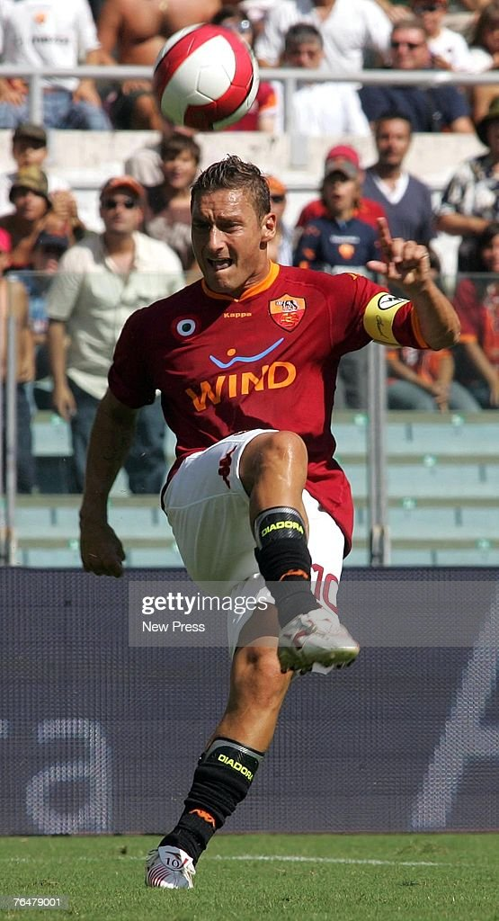 Francesco Totti of Roma in action during a Serie A match between Roma and Siena at the Stadio Olimpico on September 02, 2007 in Rome, Italy.