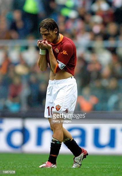 Francesco Totti of Roma in action during the Serie A match between Roma and Perugia played at the Olympic Stadium Rome Italy on November 3 2002