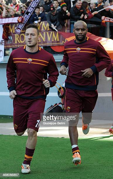 Francesco Totti of Roma walks out before the Serie A match between SS Lazio and AS Roma at Stadio Olimpico on February 9 2014 in Rome Italy