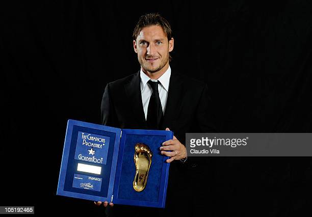 Francesco Totti posing for the Golden Foot Awards at Fairmont Hotel on October 11 2010 in Monaco Monaco