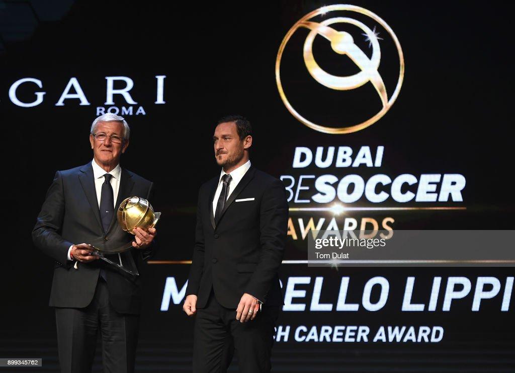 Francesco Totti presents Marcello Lippi with Coach Career Award during the Globe Soccer Awards 2017 on December 28, 2017 in Dubai, United Arab Emirates.