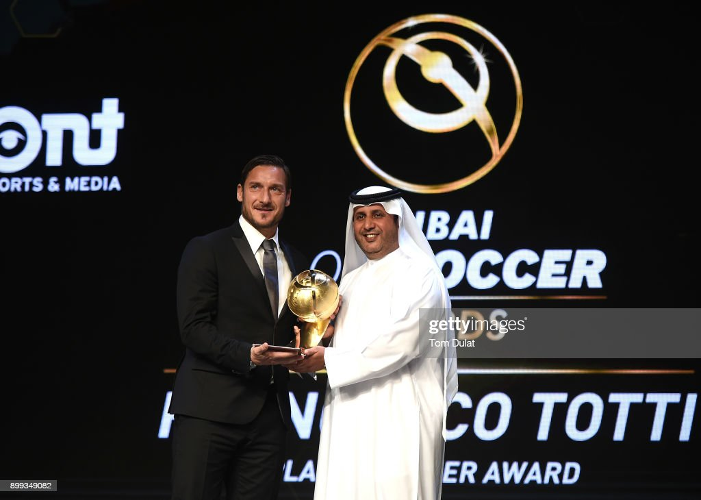 Francesco Totti receives Player Career Award during the Globe Soccer Awards 2017 on December 28, 2017 in Dubai, United Arab Emirates.