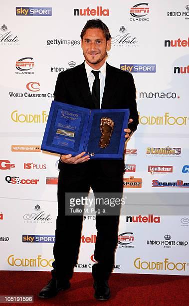 Francesco Totti receives the 2010 Golden Foot award during the Golden Foot Awards ceremony at Fairmont Hotel on October 11 2010 in Monaco Monaco