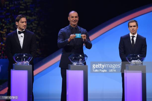 Francesco Totti Ruud Gullit and Philipp Lahm attend the UEFA Euro 2020 Final Draw Ceremony on November 30 2019 in Bucharest Romania