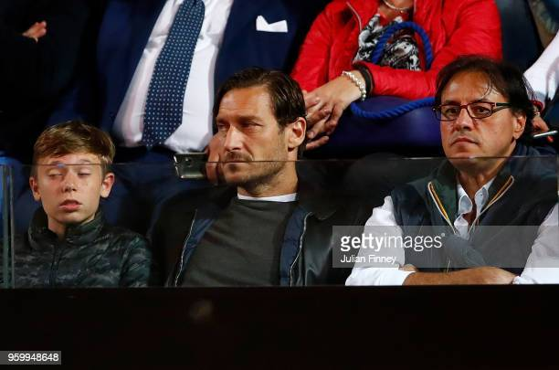 Francesco Totti watches on as David Goffin of Belgium plays Alexander Zverev of Germany during day six of the Internazionali BNL d'Italia 2018 tennis...