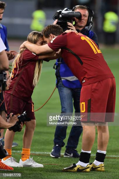 Francesco Totti with his daughter Chanel during his last match with AS Roma Olympic stadium Rome May 28th 2017