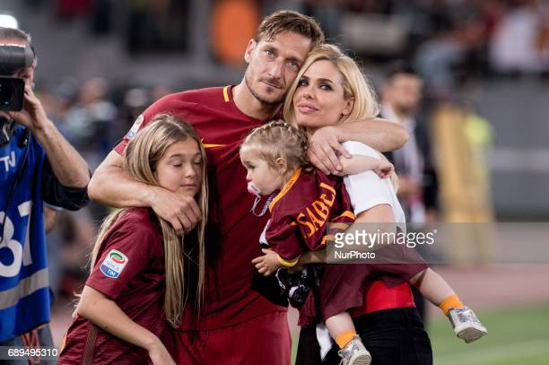 Francesco Totti with his family on the field after his last appearance in Rome after more than 20 years during the Serie A match between Roma and...