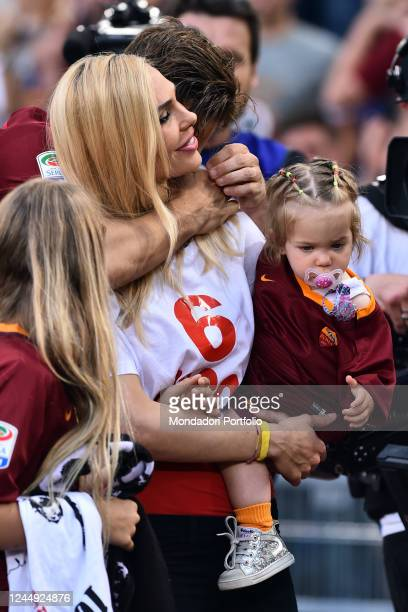 Francesco Totti with his wife Ilary Blasi and his daughters Chanel and Isabel during his last match with AS Roma Olympic stadium Rome May 28th 2017